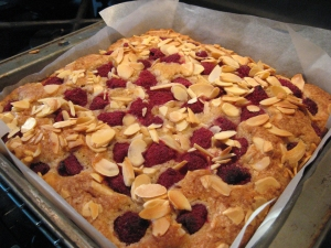 Raspberry and Almond Blondies