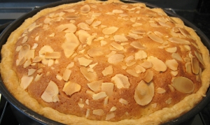 Plum and Cinnamon Bakewell Tart straight from the oven