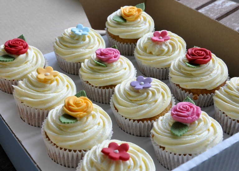 Carrot Cupcakes with Orange Frosting