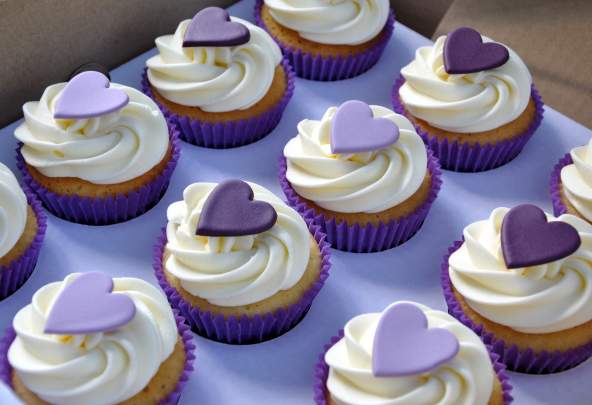 Purple Heart Wedding Cupcakes