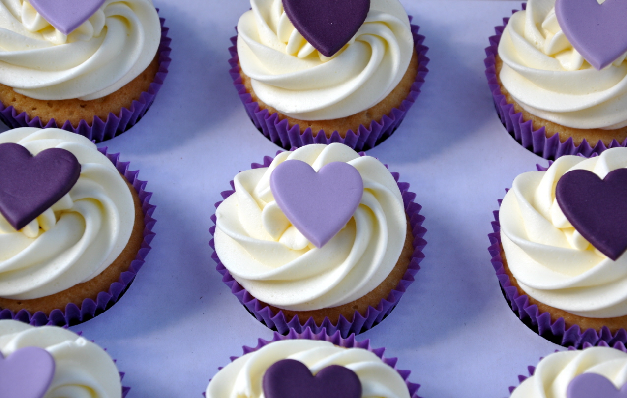 Purple Heart Wedding Cupcakes from the sweet kitchen
