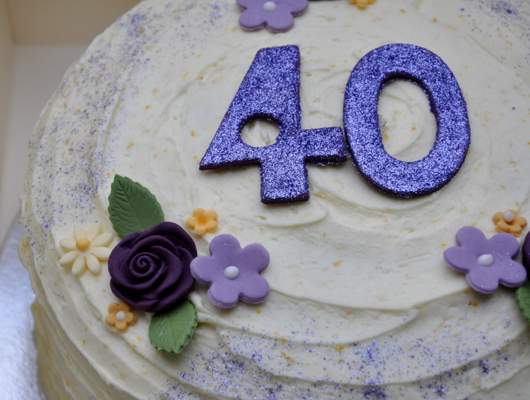 Purple Themed 40th Birthday Cupcakes From The Sweet Kitchen