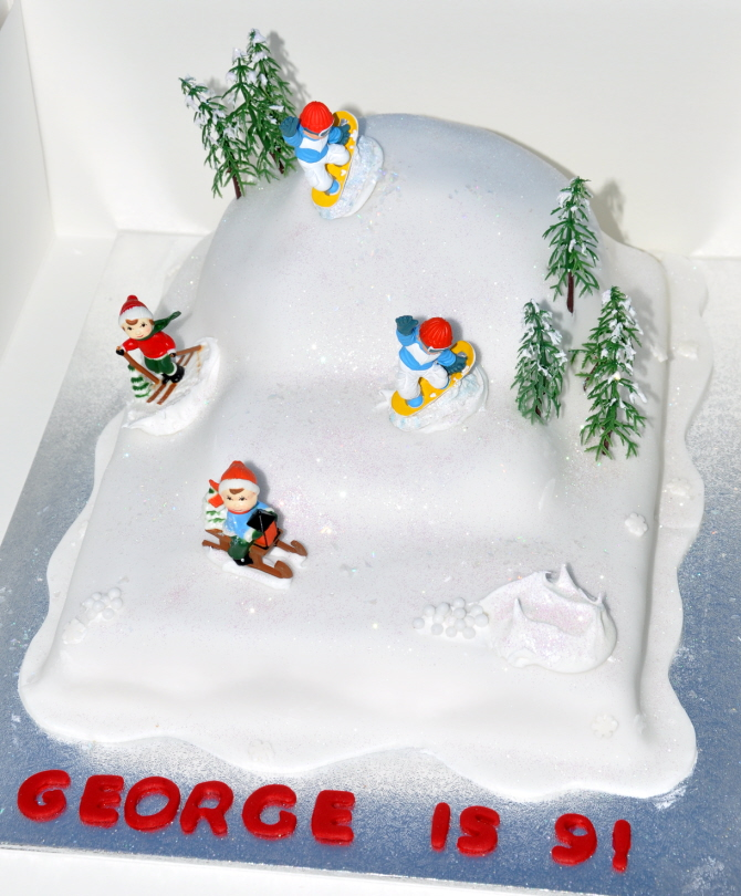 Childs Ski Slope Cake From The Sweet Kitchen