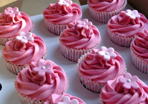 Pink Christening Cupcakes from the sweet kitchen
