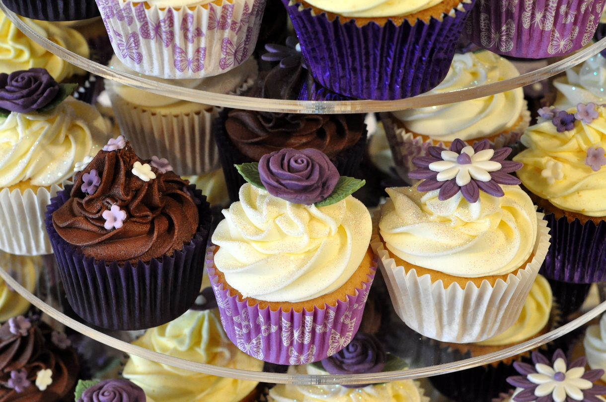 Shades of Purple Wedding Cupcakes from the sweet kitchen