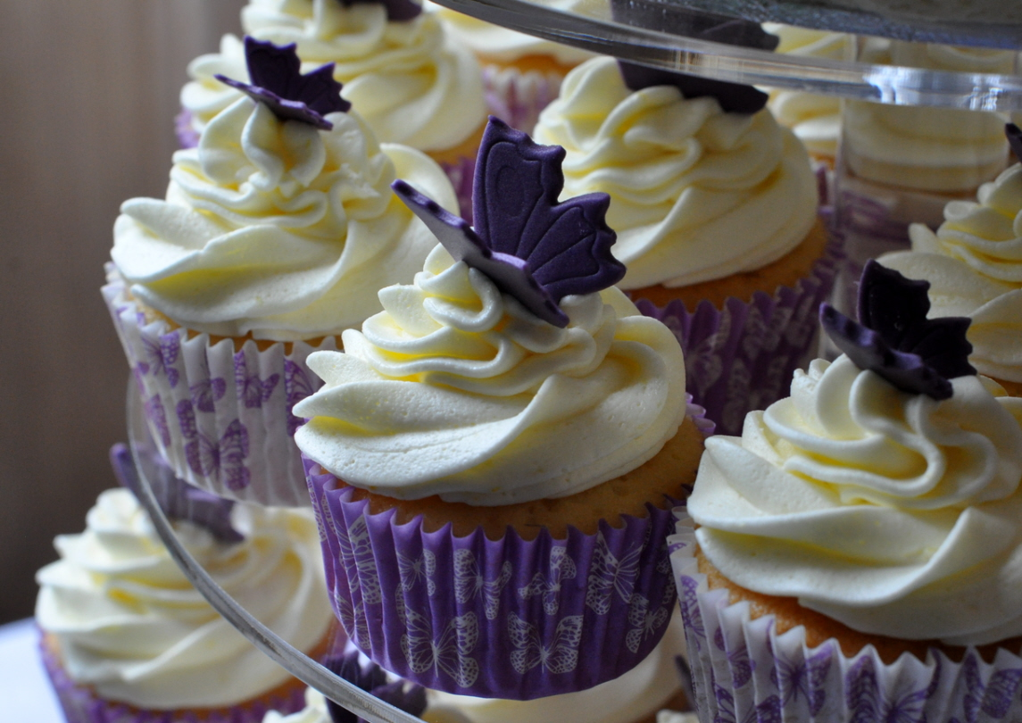 Purple Butterfly Wedding Cupcakes
