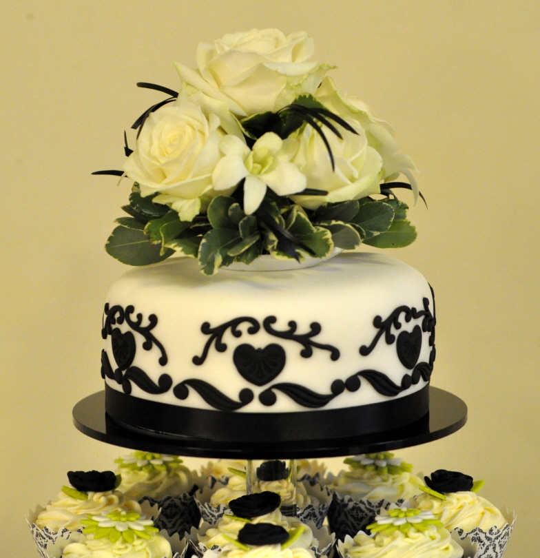 Black White And Lime Green Wedding Cupcake Tower From The Sweet