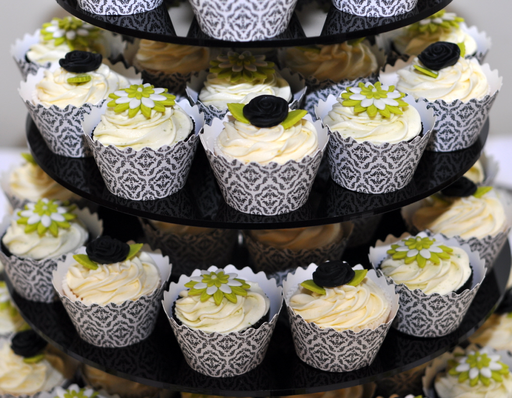 Black, White and Lime Green Wedding Cupcake Tower – from the sweet ...