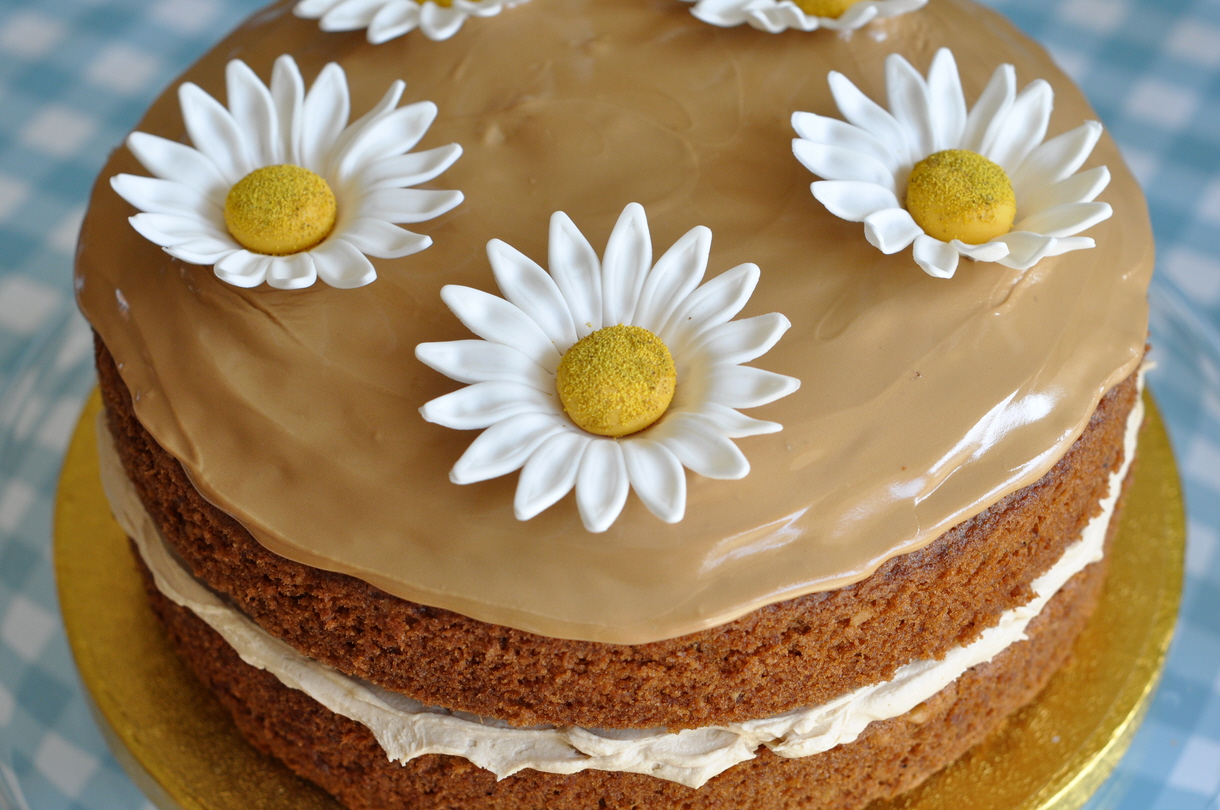 Coffee And Walnut Layer Cake With Large Daisies From The Sweet Kitchen