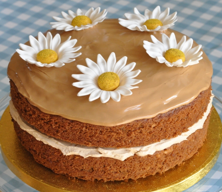 Coffee And Walnut Layer Cake With Large Daisies