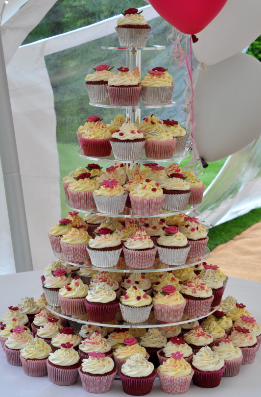 Pink And Silver Cupcake Tower From The Sweet Kitchen